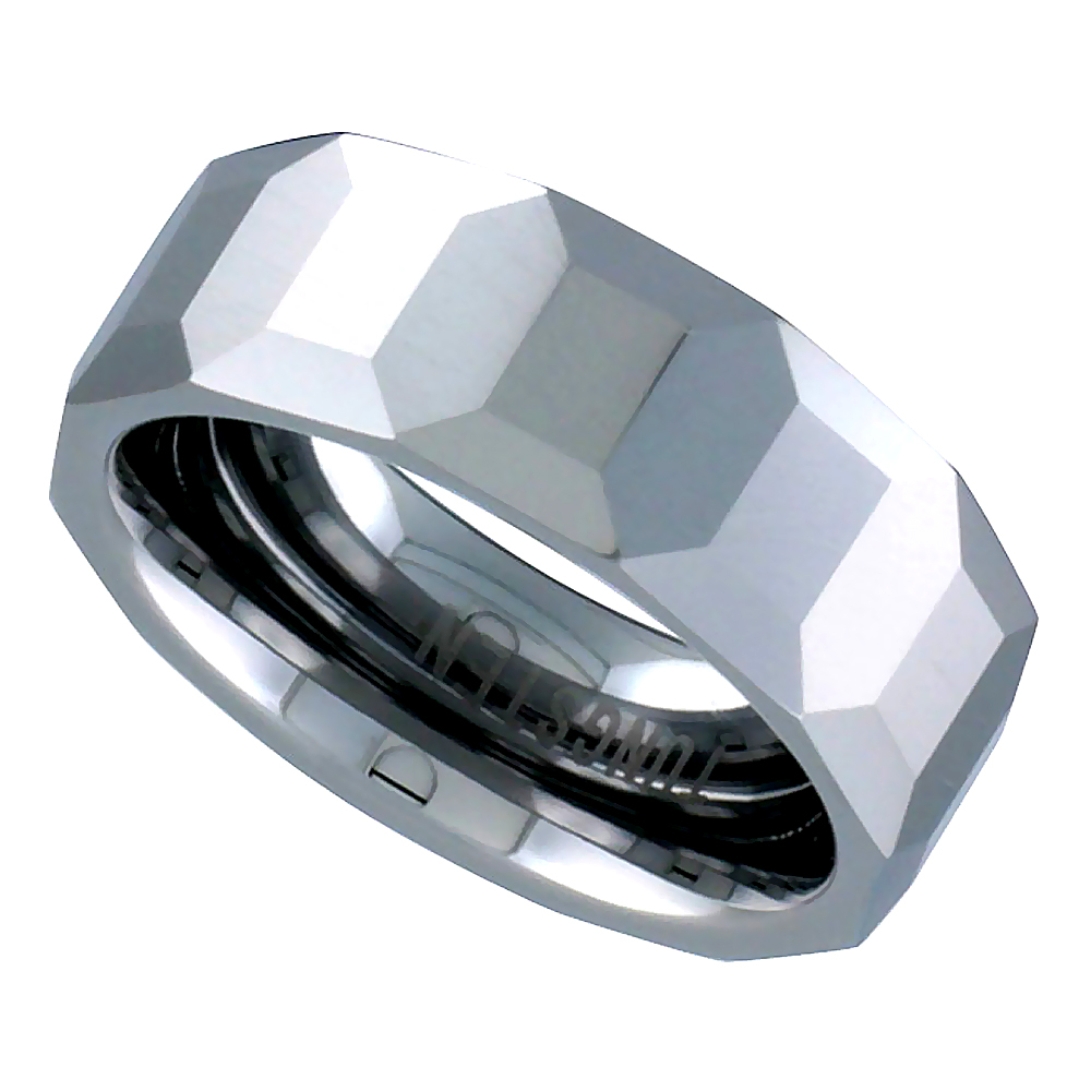 8mm Tungsten 900 Wedding Ring Faceted Dome Octagon Patterns Comfort fit, sizes 5 to 14