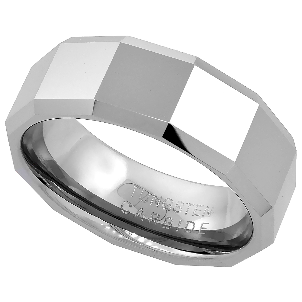 8mm Tungsten 900 Wedding Ring Faceted Large Square Patterns Beveled Edges Comfort fit, sizes 7 - 14