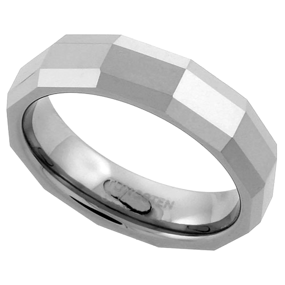 5.5mm Tungsten 900 Wedding Ring Faceted Dome Thin Rectangular Patterns Comfort fit, sizes 7 - 14