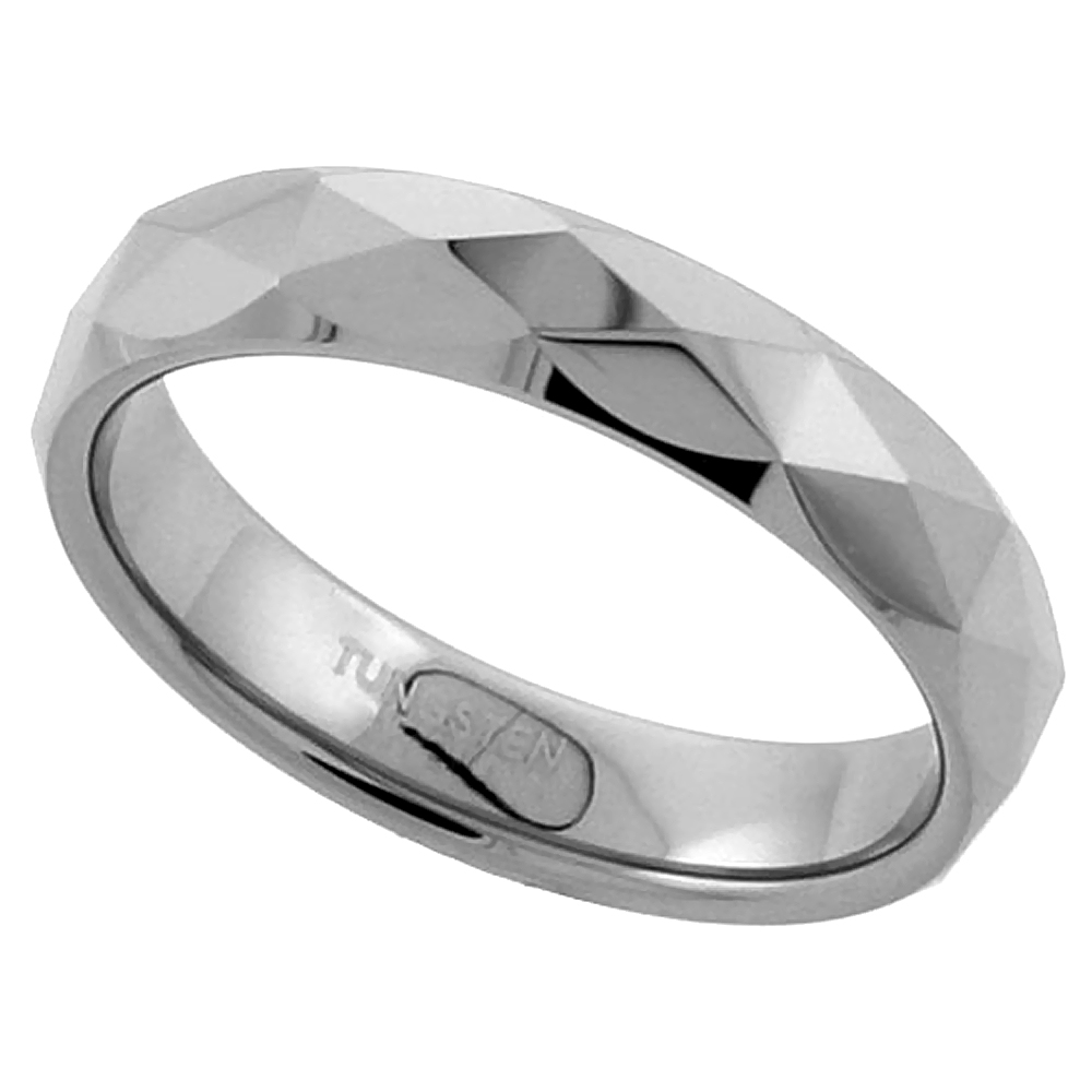 3.5mm Tungsten 900 Toe Ring / Thumb Ring Diamond Faceted Finish Comfort fit, sizes 3 to 5