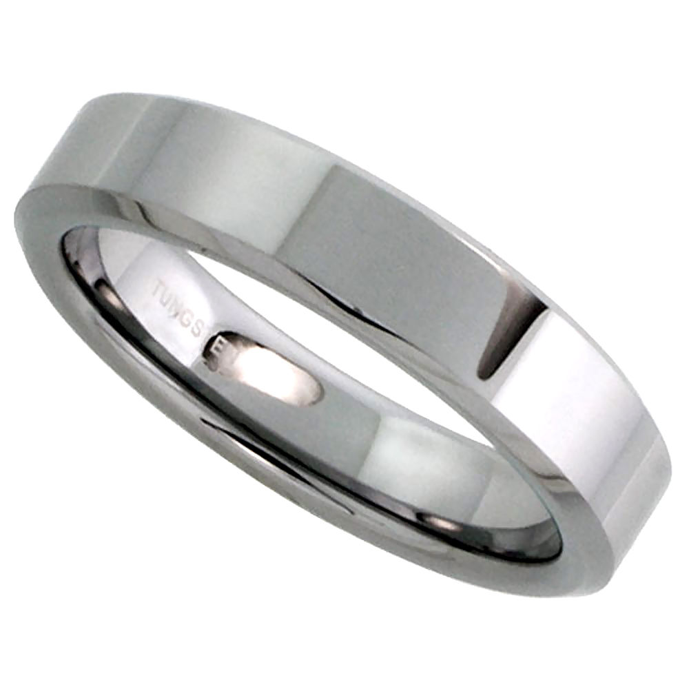 5mm Tungsten 900 Wedding Ring / Thumb Ring for Him & Her High Polish Beveled Edges Comfort fit, sizes 5 to 12