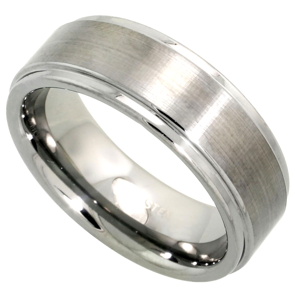 8mm Tungsten 900 Wedding Ring Center Recessed Edges Satin Finished Comfort fit, sizes 7 - 14