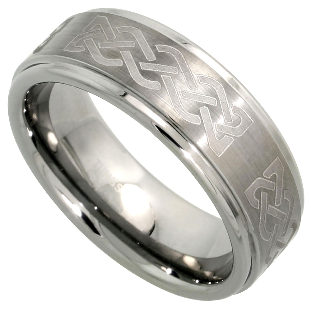 8mm Tungsten 900 Wedding Ring Celtic Knot Pattern Satin Finish Recessed Edges Comfort fit, sizes 7 - 14