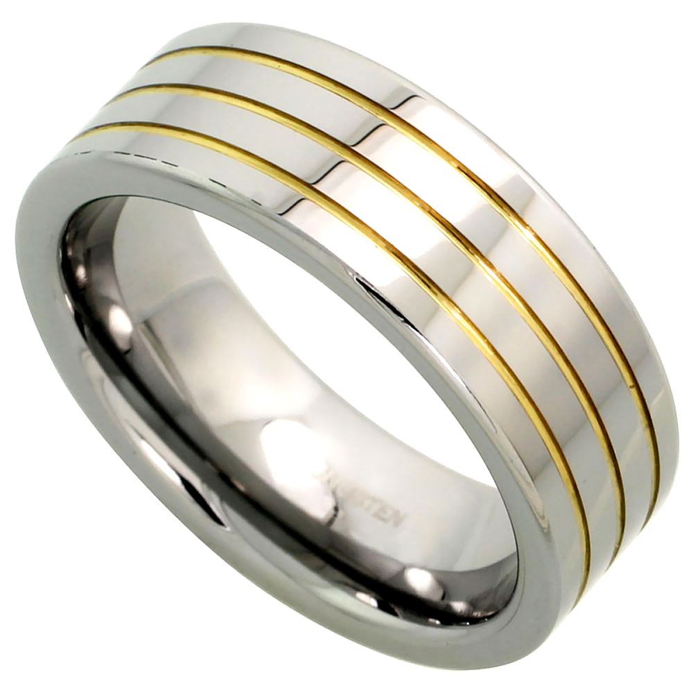 Sabrina Silver Tungsten Ring 8 mm Flat Wedding Band 3 Gold Grooves Mirror Polished Finish, sizes 7 to 14 at Sears.com