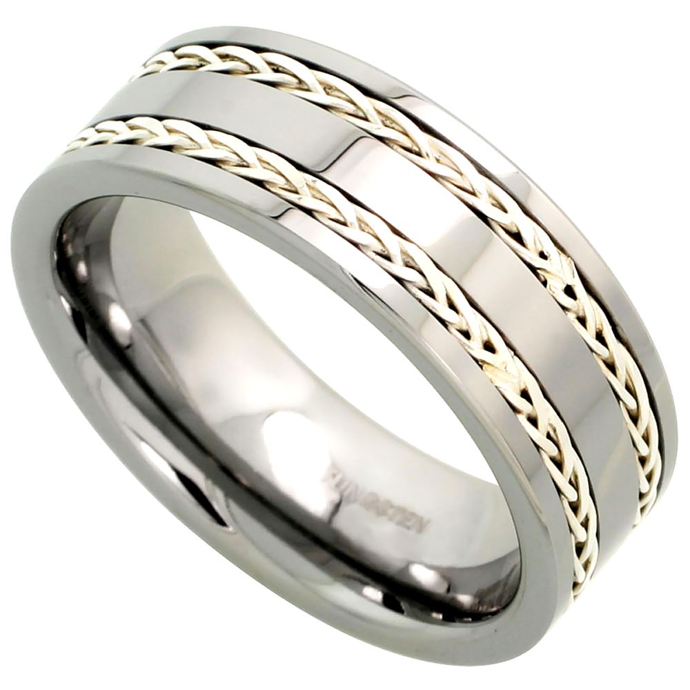 8mm Tungsten 900 Wedding Ring Double Sterling Silver Rope Inlay Comfort fit, sizes 7 - 14