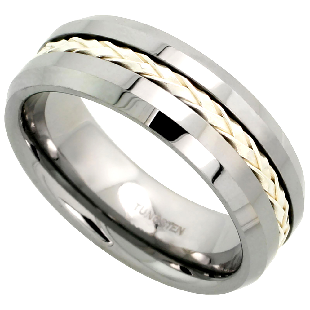 8mm Tungsten 900 Wedding Ring Sterling Silver Rope Inlay Beveled Edges Comfort fit, sizes 7 - 14
