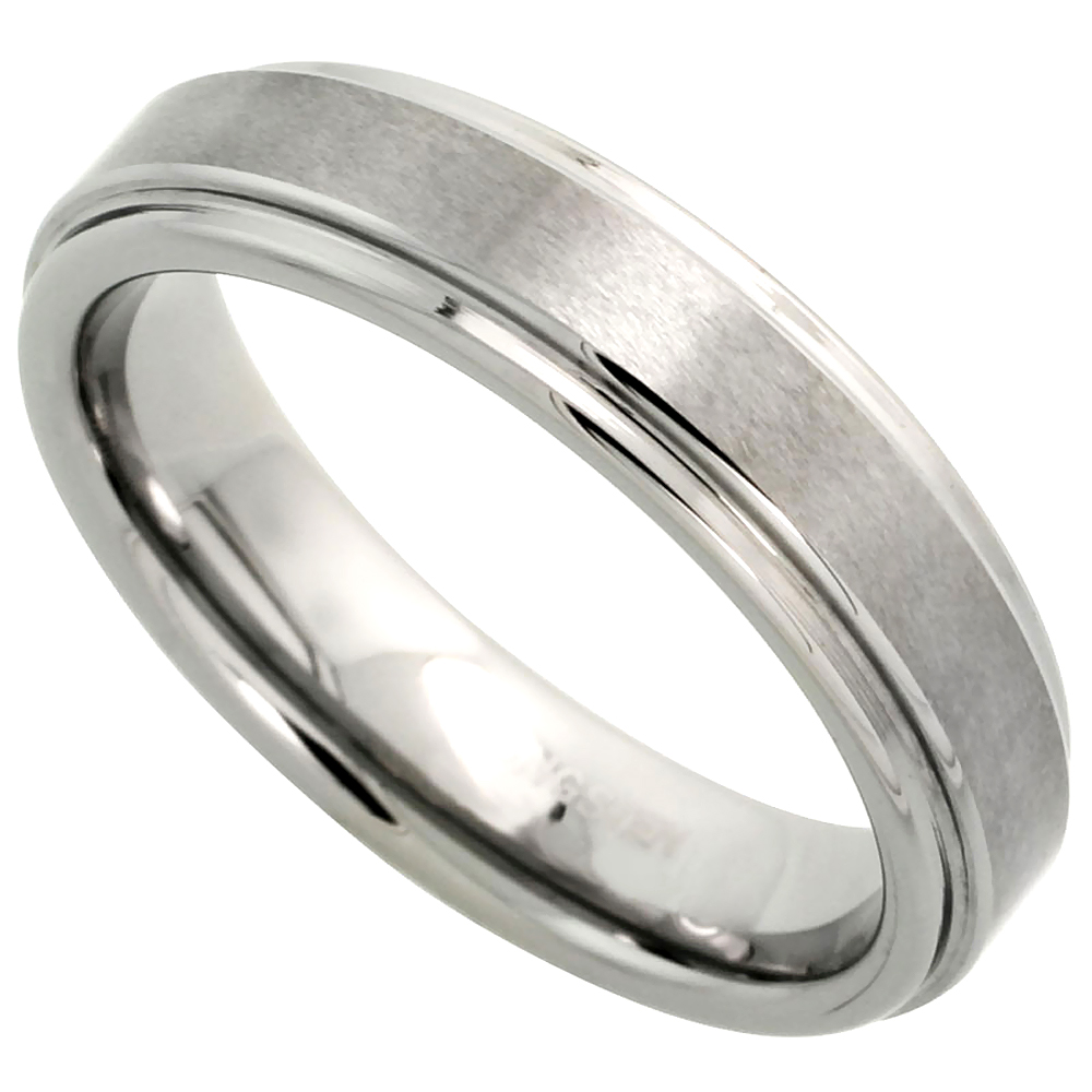 5.5mm Tungsten 900 Wedding Ring Satined Center Recessed Edges Comfort fit, sizes 5 to 12