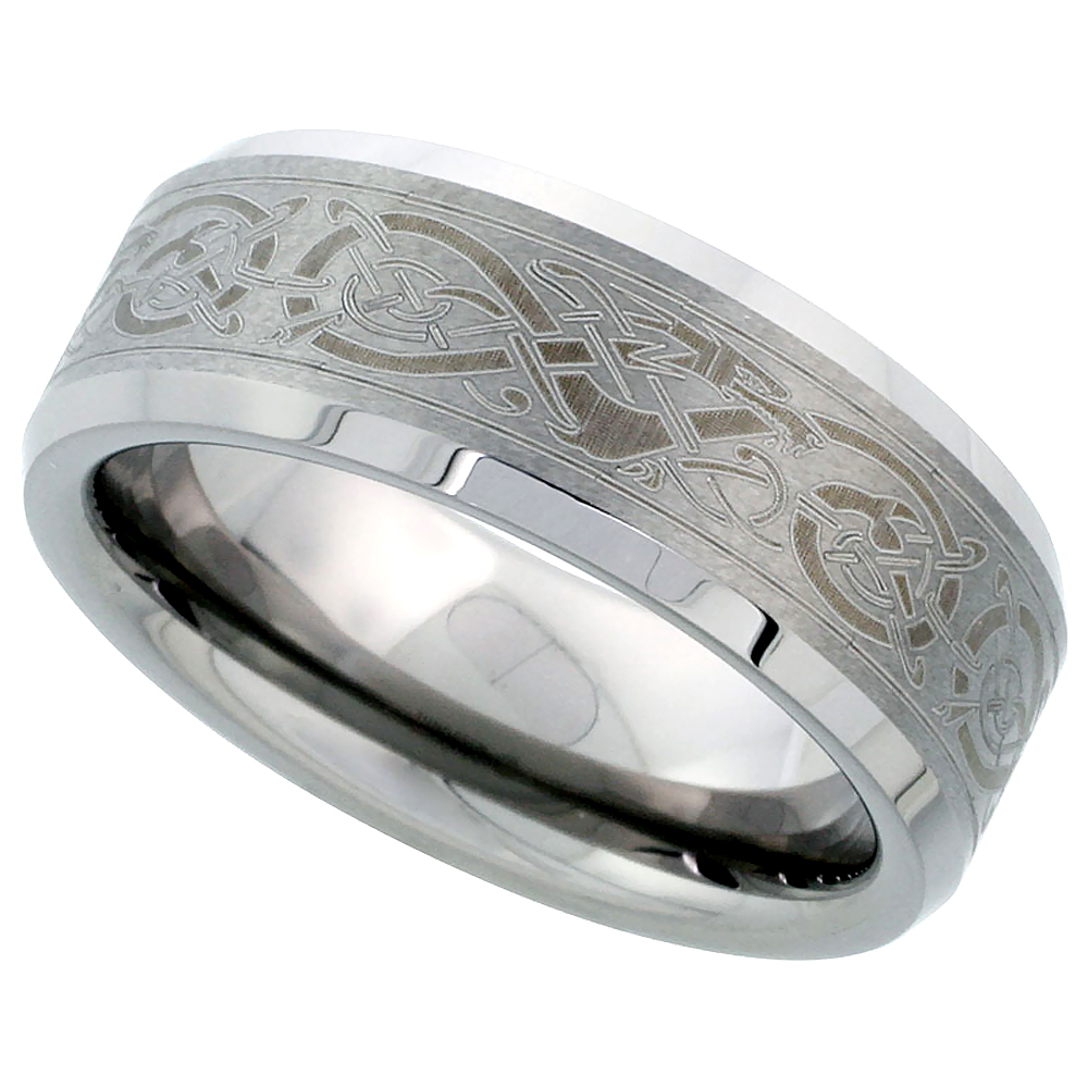 8mm Tungsten 900 Wedding Ring Etched Celtic Dragon Pattern Beveled Edges Comfort fit,, sizes 7 - 15