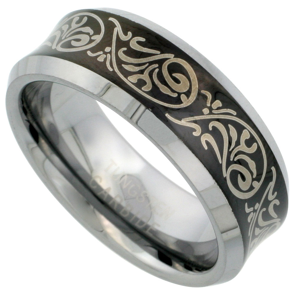 8mm Black Tungsten 900 Wedding Ring Concave Etched Tribal Pattern Beveled Edges Comfort fit, sizes 7 - 14