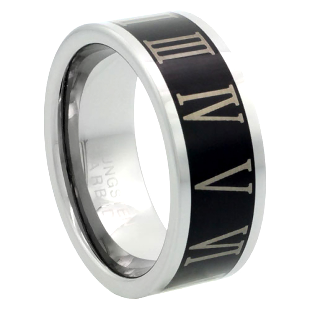8mm Black Tungsten 900 Wedding Ring Roman Numerals 1-12 Comfort fit, sizes 9 to 13.5