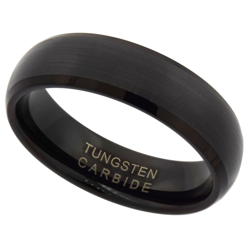 6mm Black Tungsten 900 Wedding Ring Dome Brushed Finish Beveled Edge Comfort fit, sizes 9 - 12