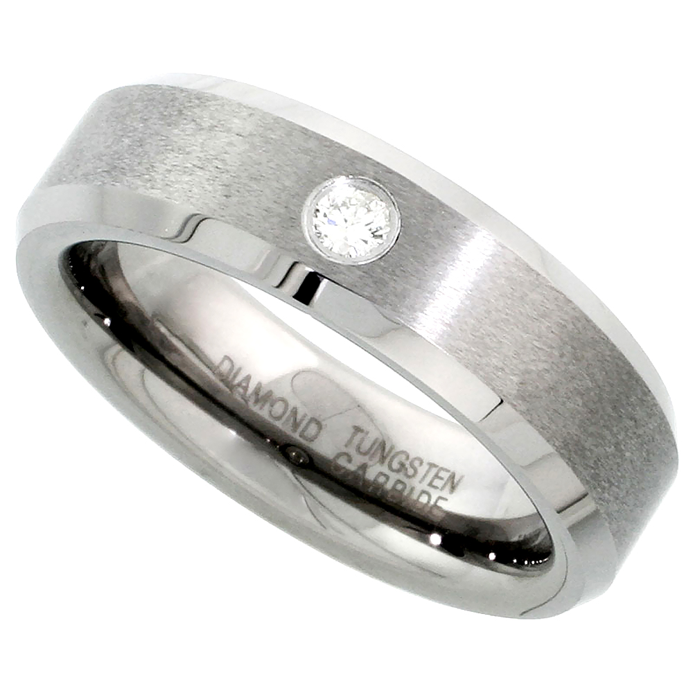 6mm Tungsten 900 Diamond Wedding Ring for Him & Her 0.06 cttw Beveled Edges Comfort fit, sizes 4 to 9.5
