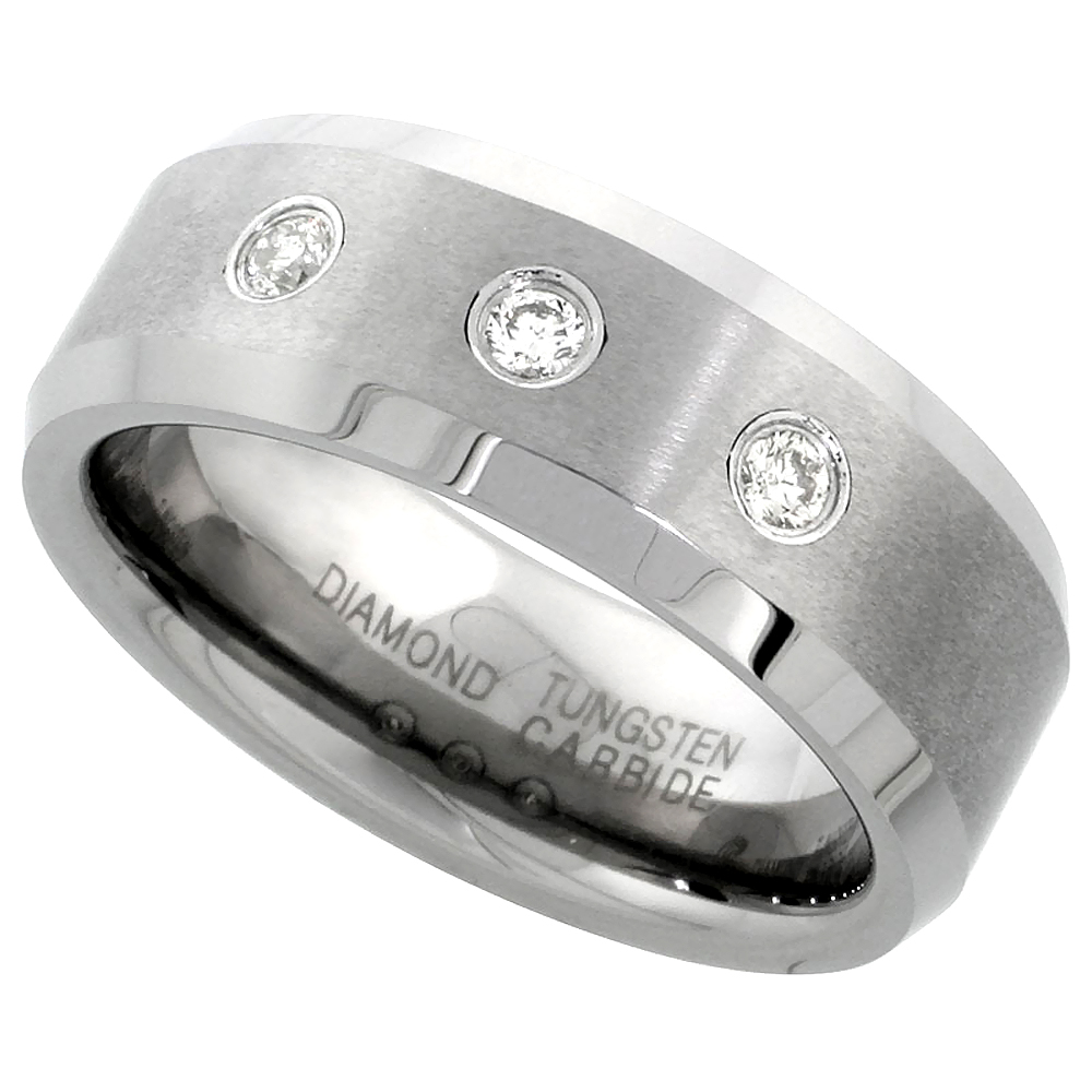 8mm Tungsten 900 3 Stone Diamond Wedding Ring 0.22 cttw Beveled Edges Comfort fit, sizes 8 to 14