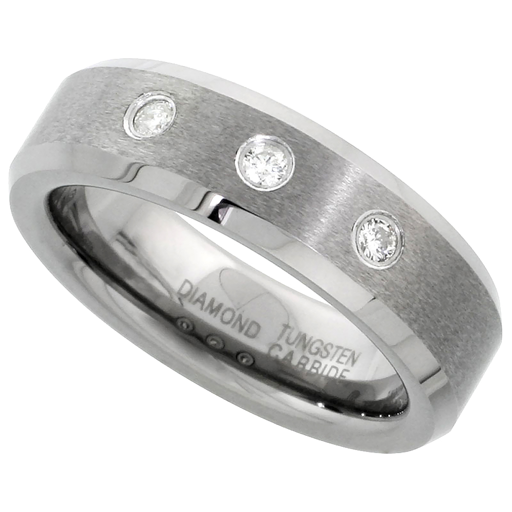 6mm Tungsten 900 Diamond Wedding Ring for Him & Her 3 Stone 0.11 cttw Matte Finish Beveled Edges Comfort fit, sizes 4 to 9.5
