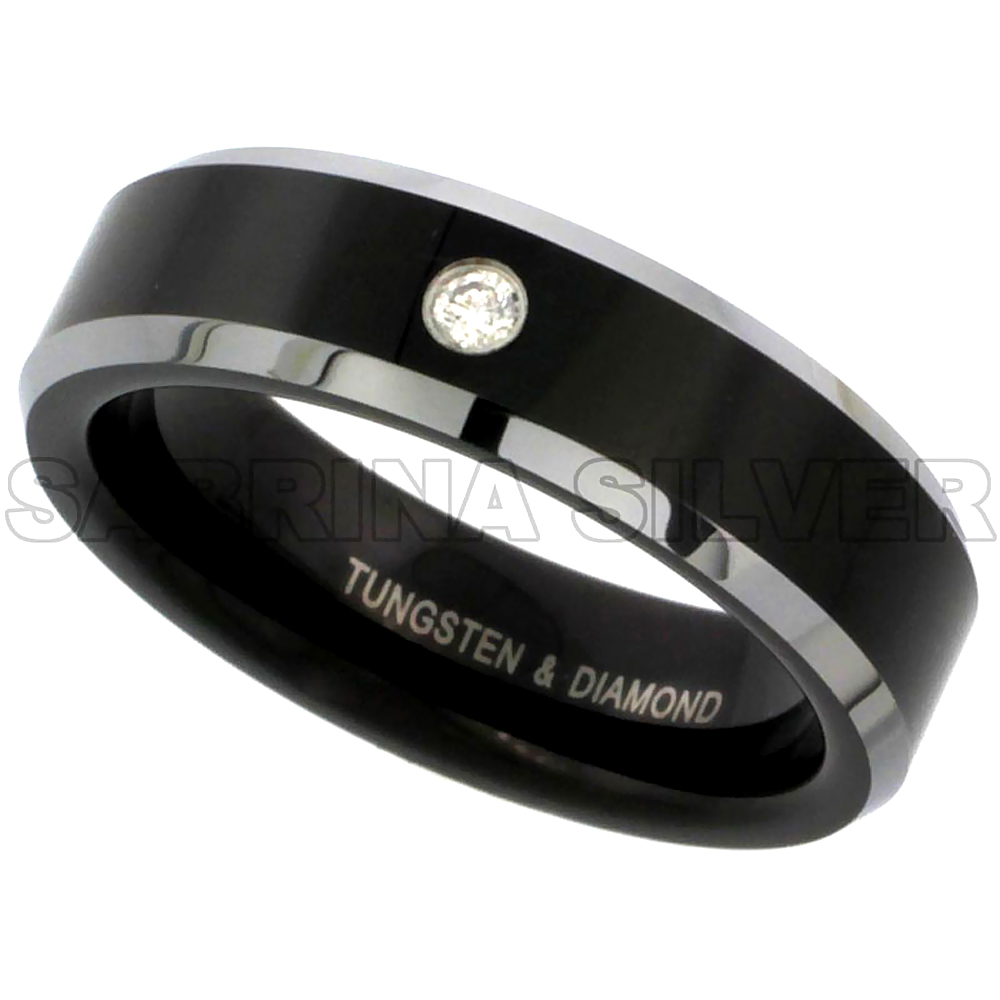 6mm Black Tungsten 900 Diamond Wedding Ring for Him & Her 0.04 cttw Two-tone Beveled Edges Comfort fit, sizes 5 to 9