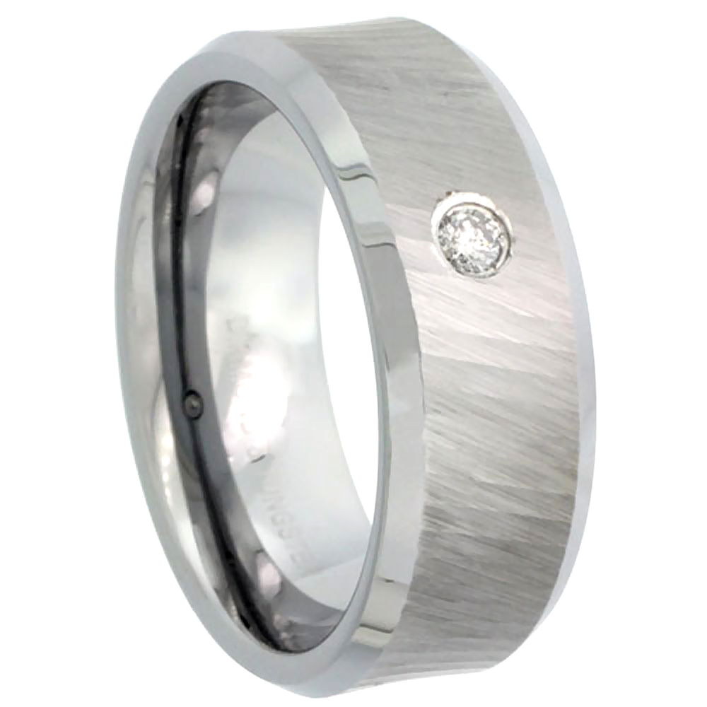 8mm Tungsten 900 Diamond Wedding Ring 0.07 cttw Dazzling Cut Finish Beveled Edges Comfort fit, sizes 8 to 13