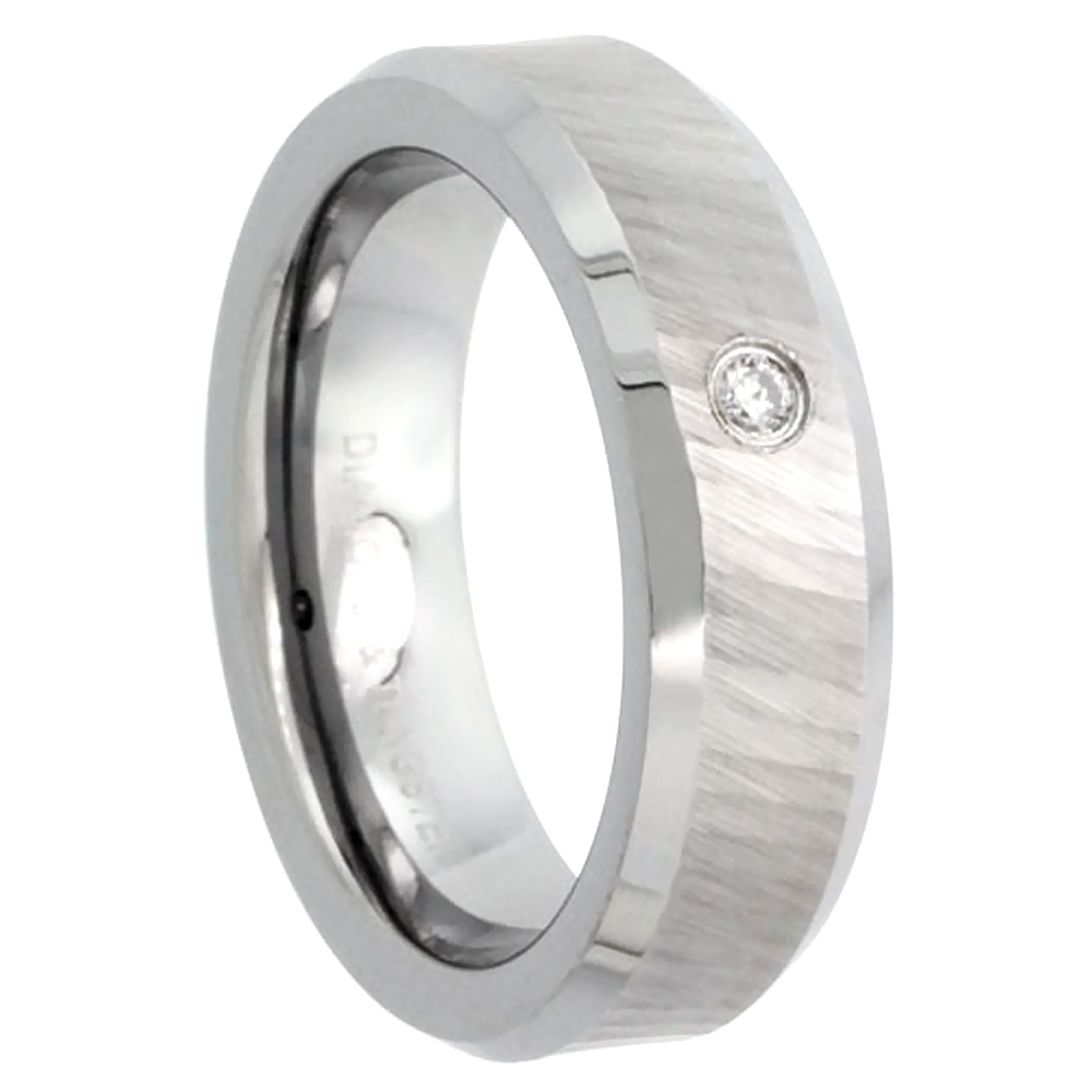 6mm Tungsten 900 Diamond Wedding Ring for Him & Her 0.03 cttw Dazzling Cut Finish Beveled Edges Comfort fit, sizes 4 to 9.5