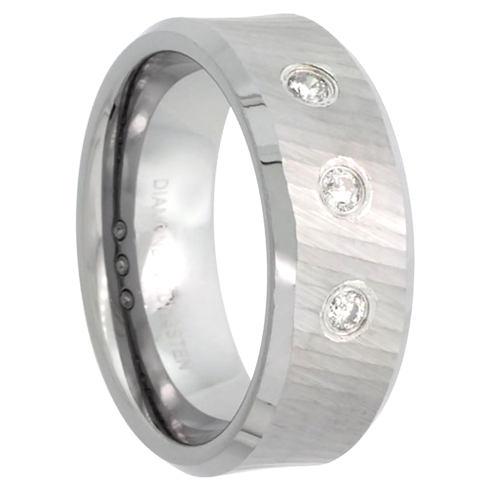 8mm Tungsten 900 3 Stone Diamond Wedding Ring 0.15 cttw Dazzling Cut Finish Beveled Edges Comfort fit, sizes 8 to 13