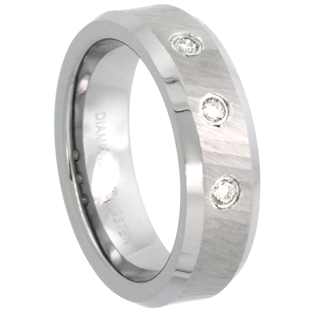 6mm Tungsten 900 3 Stone Diamond Wedding Ring for Him & Her 0.10 cttw Dazzling Cut Finish Beveled Edges Comfort fit, sizes 4 to 9.5