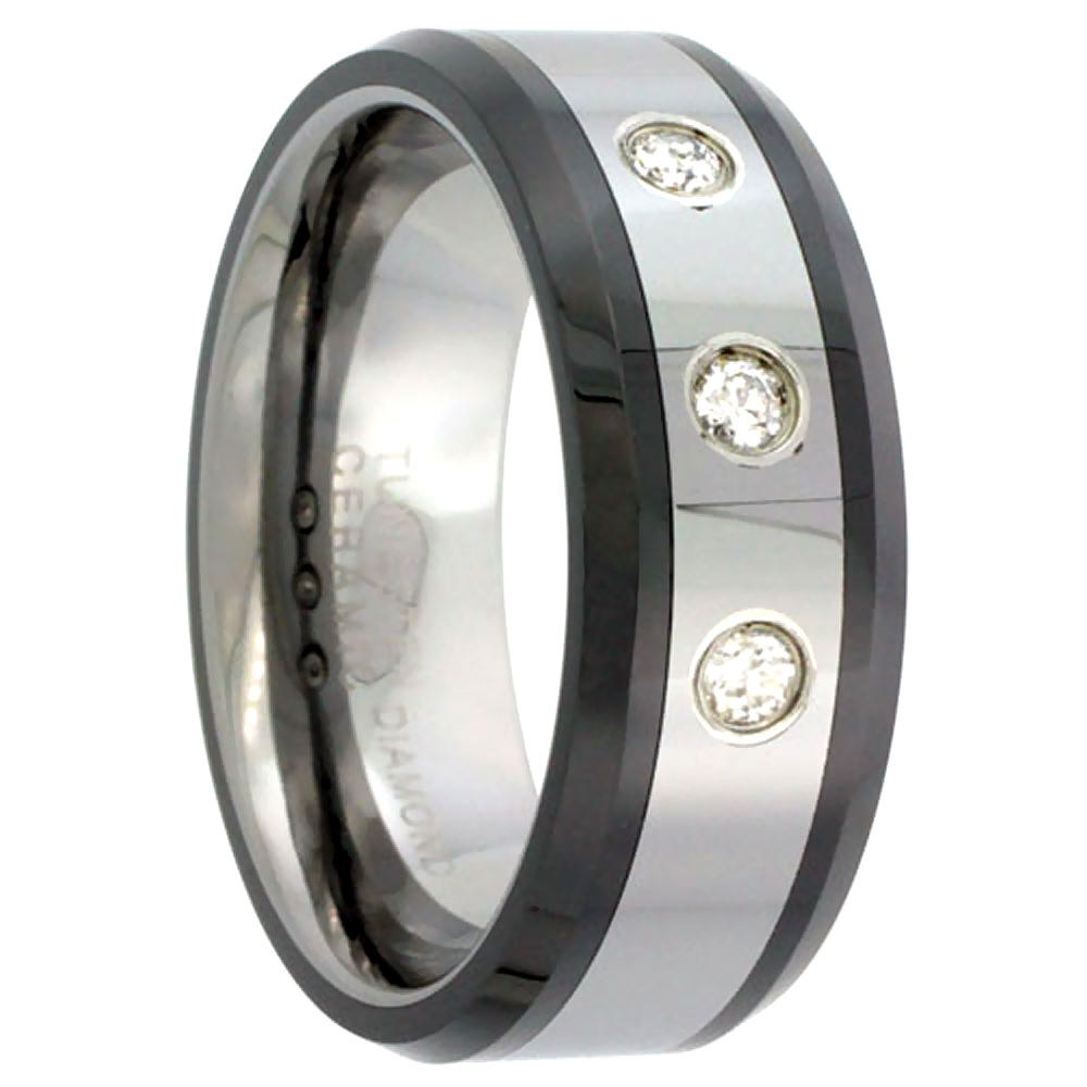8mm Tungsten 900 3 Stone Diamond Wedding Ring 0.15 cttw Beveled Black Ceramic Inlay Edges Comfort fit, sizes 8 to 13