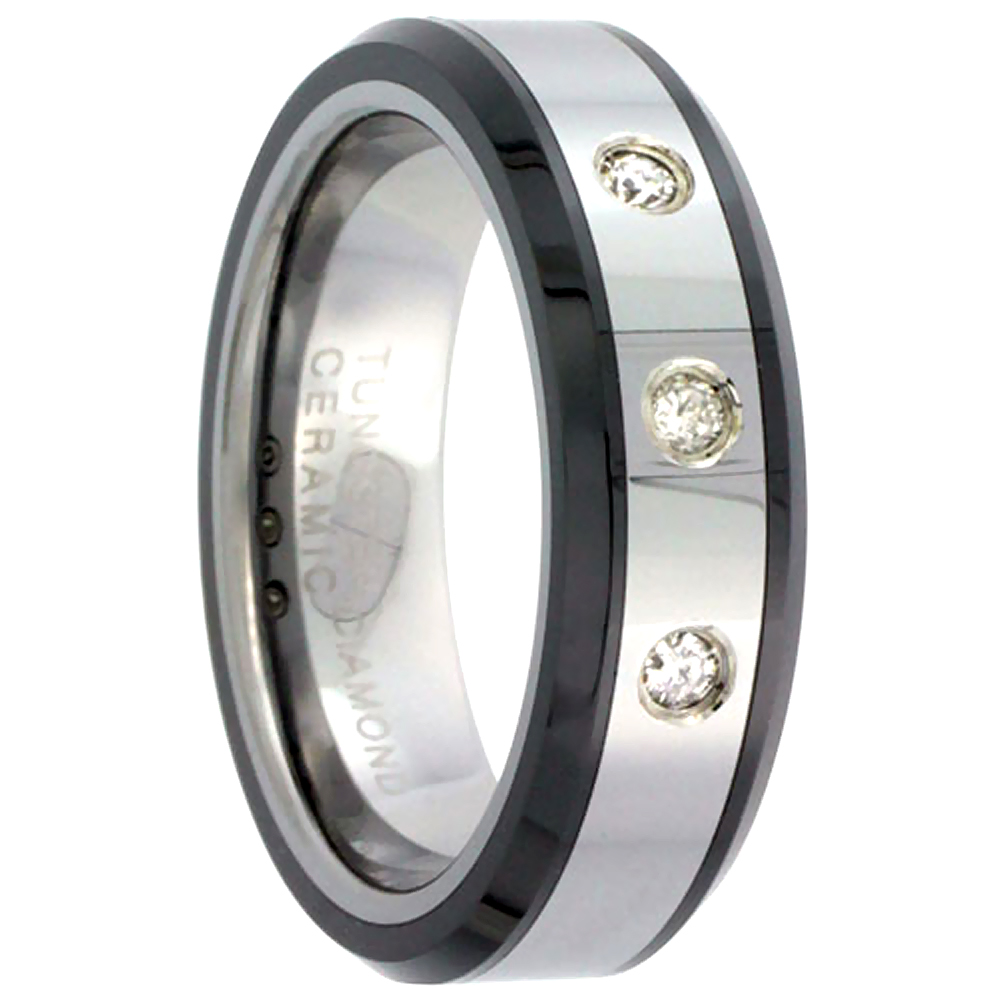 6mm Tungsten 900 3 Stone Diamond Wedding Ring for Him & Her 0.10 cttw Beveled Black Ceramic Inlay Edges Comfort fit, sizes 5 to 9.5