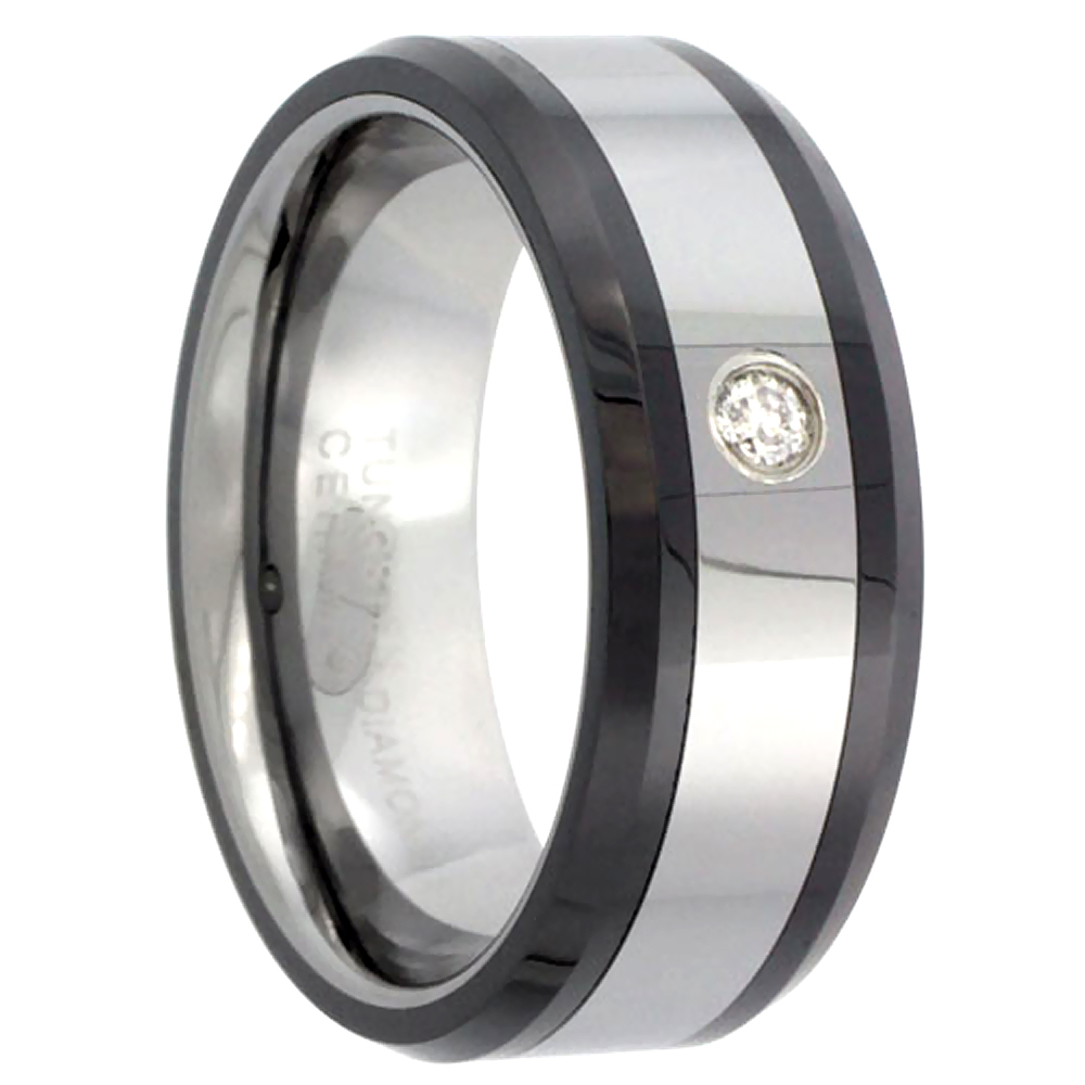 8mm Tungsten 900 Diamond Wedding Ring 0.07 cttw Beveled Black Ceramic Inlay Edges Comfort fit, sizes 8 to 13