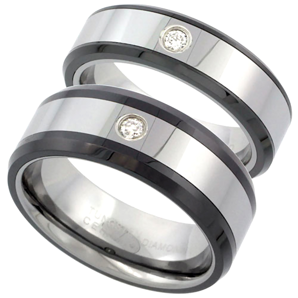Sabrina Silver 2-Ring Set Tungsten Carbide Diamond 6 & 8 mm Him & Her Wedding Band Ring 0.12 cttw Beveled Black Ceramic Inlay Edges, ladies siz at Sears.com
