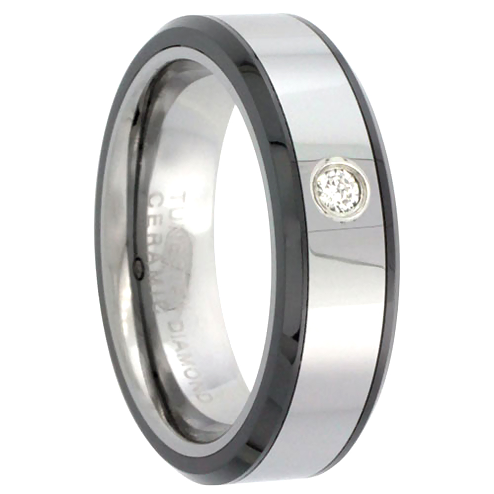 6mm Tungsten 900 Diamond Wedding Ring for Him & Her 0.05 cttw Beveled Black Ceramic Inlay Edges Comfort fit, sizes 4 to 9.5