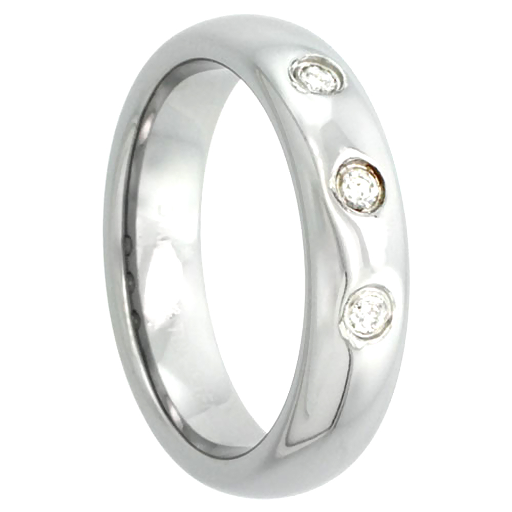 5mm Tungsten 900 Diamond Wedding Ring Domed 3 Stone 0.09 cttw Polished Finish Comfort fit, sizes 4 to 9.5
