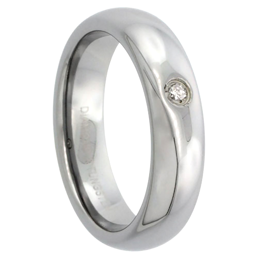 5mm Tungsten 900 Diamond Wedding Ring Domed 0.03 cttw Polished Finish for him and her Comfort fit, sizes 4 to 9.5