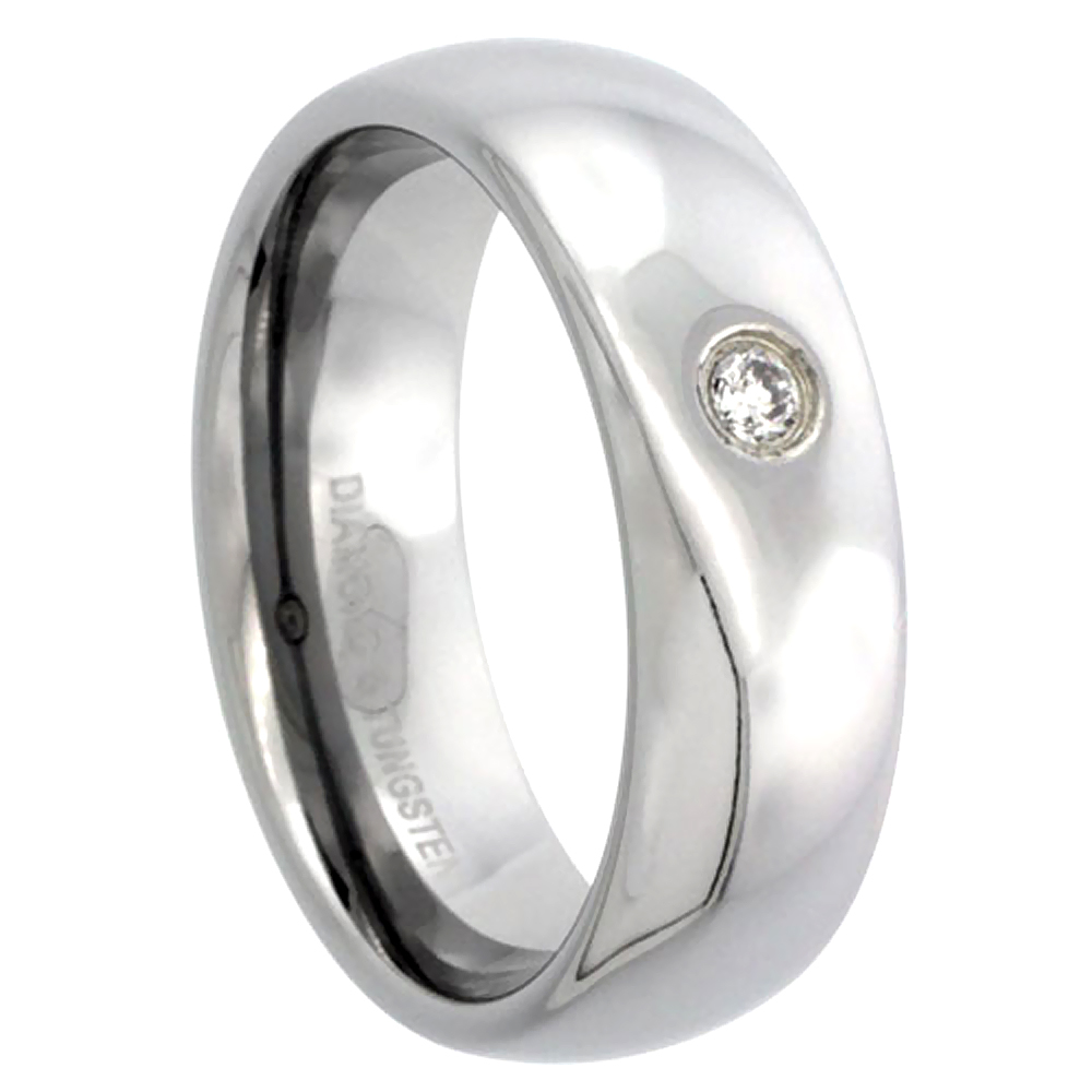 7mm Tungsten 900 Diamond Wedding Ring Domed 0.06 cttw Polished Finish for him and her Comfort fit, sizes 8 to 13