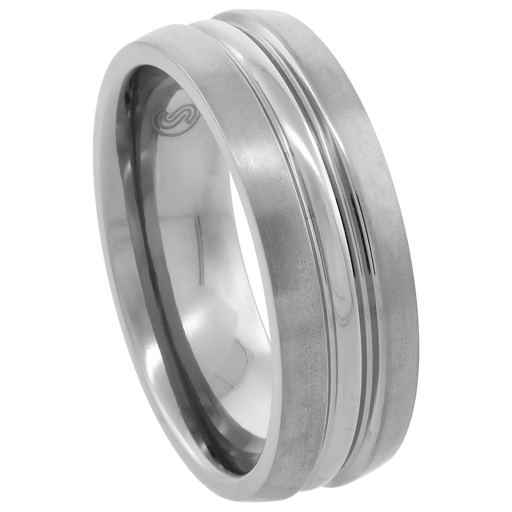 Titanium 7mm Wedding Band Ring Polished Convex Center Matte Edges Comfort-fit, sizes 7 - 14