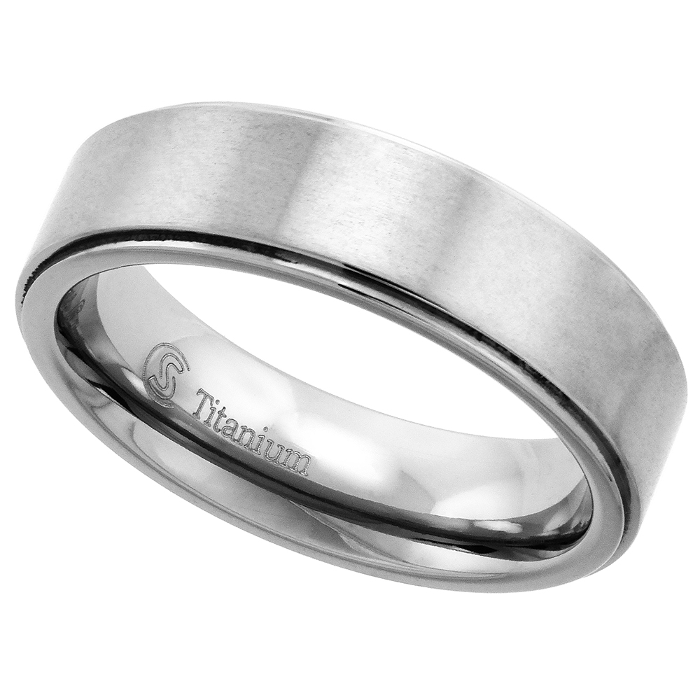 Titanium 6mm Wedding Band Ring Beveled Edges Brushed Finish Flat Comfort Fit, sizes 7 - 14