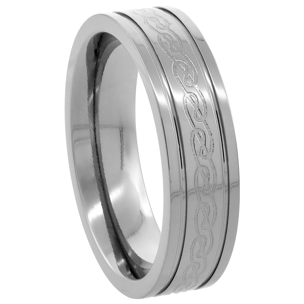 Titanium 6 mm Wedding Band Etched Celtic Knot Ring Flat Grooved Edges Comfort Fit, sizes 7 to14