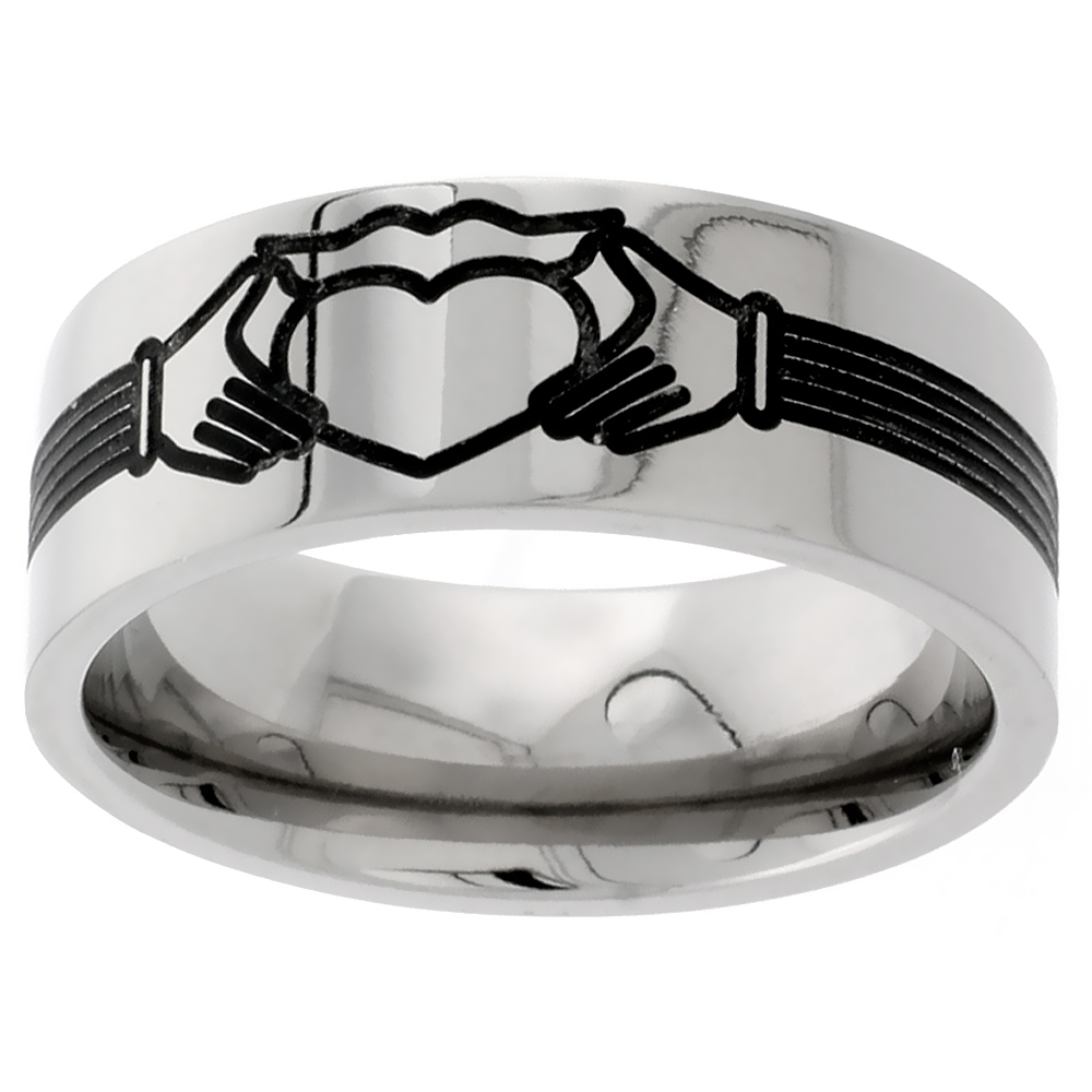 Titanium 9mm Wedding Band Claddagh Ring Flat Comfort Fit, sizes 7 - 14