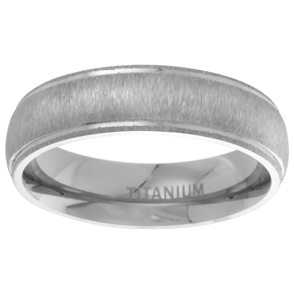 Titanium 6mm Wedding Band Ring Brushed Center Raised Edges Domed Comfort Fit, sizes 7 - 14