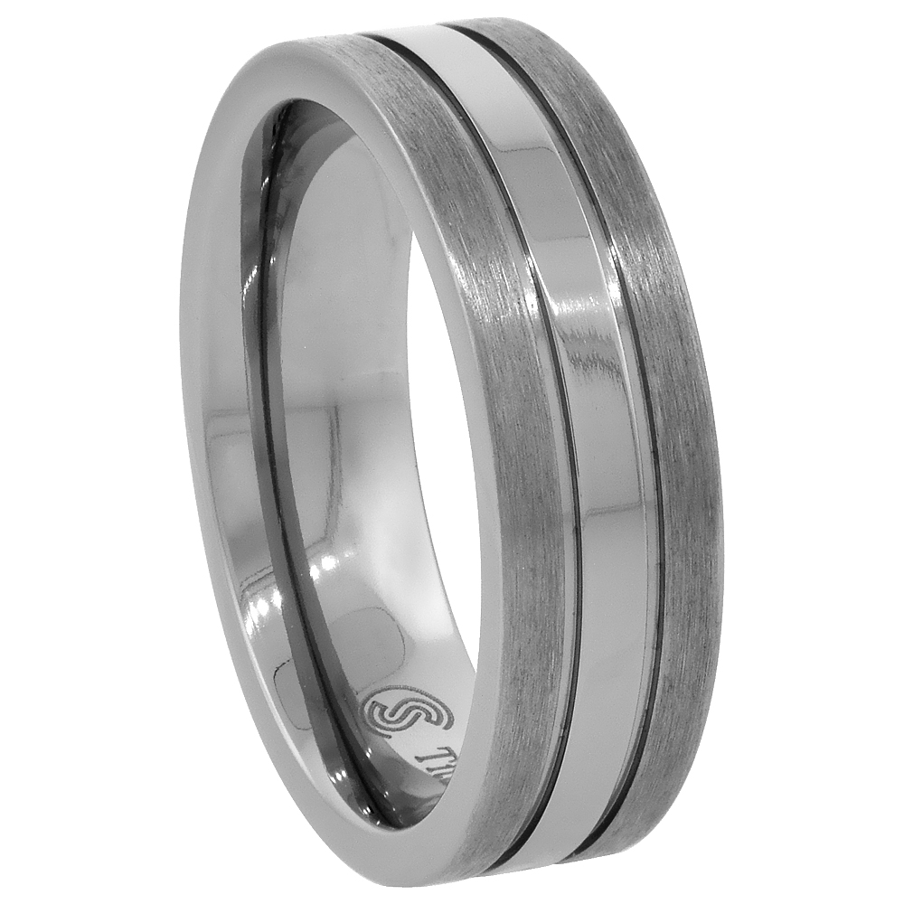 Titanium 7mm Wedding Band Ring Stripe Center Flat Comfort Fit, sizes 7 - 14