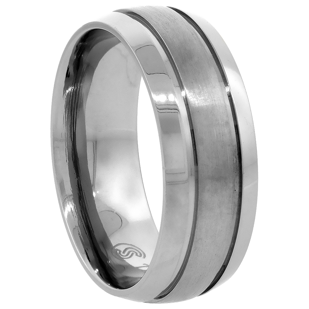 Titanium 8mm Wedding Band Ring Brushed Stripe Center Beveled Edges Domed Comfort Fit, sizes 7 - 14