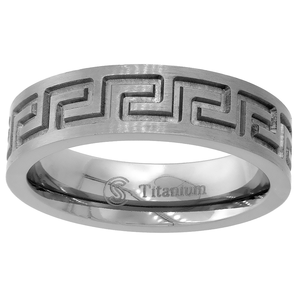 Titanium 6mm Wedding Band Greek Key Ring Flat Comfort Fit, sizes 6 - 14