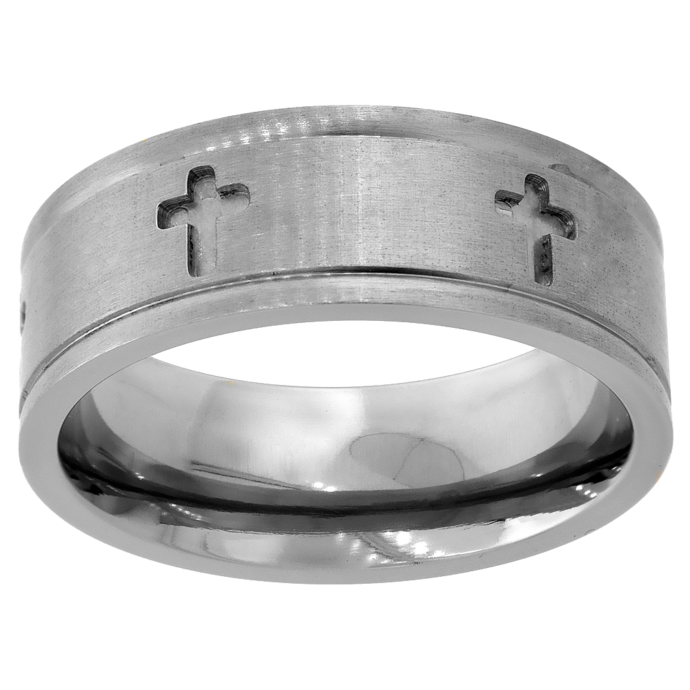 Titanium 8mm Wedding Band Cross Ring Deep Carving Grooved Edges Flat Comfort Fit, sizes 6 - 14