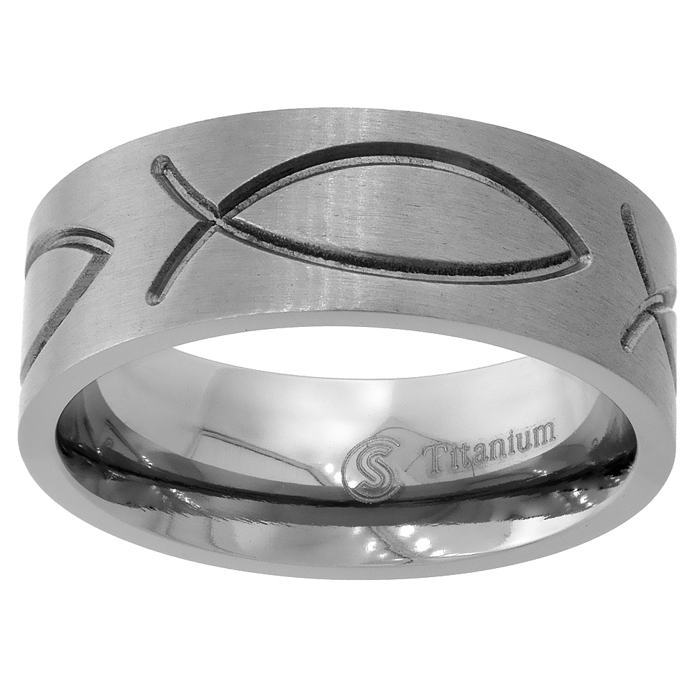 Titanium 8mm Wedding Band Christian Fish Ring Ichthys Flat Comfort Fit, sizes 6 - 14