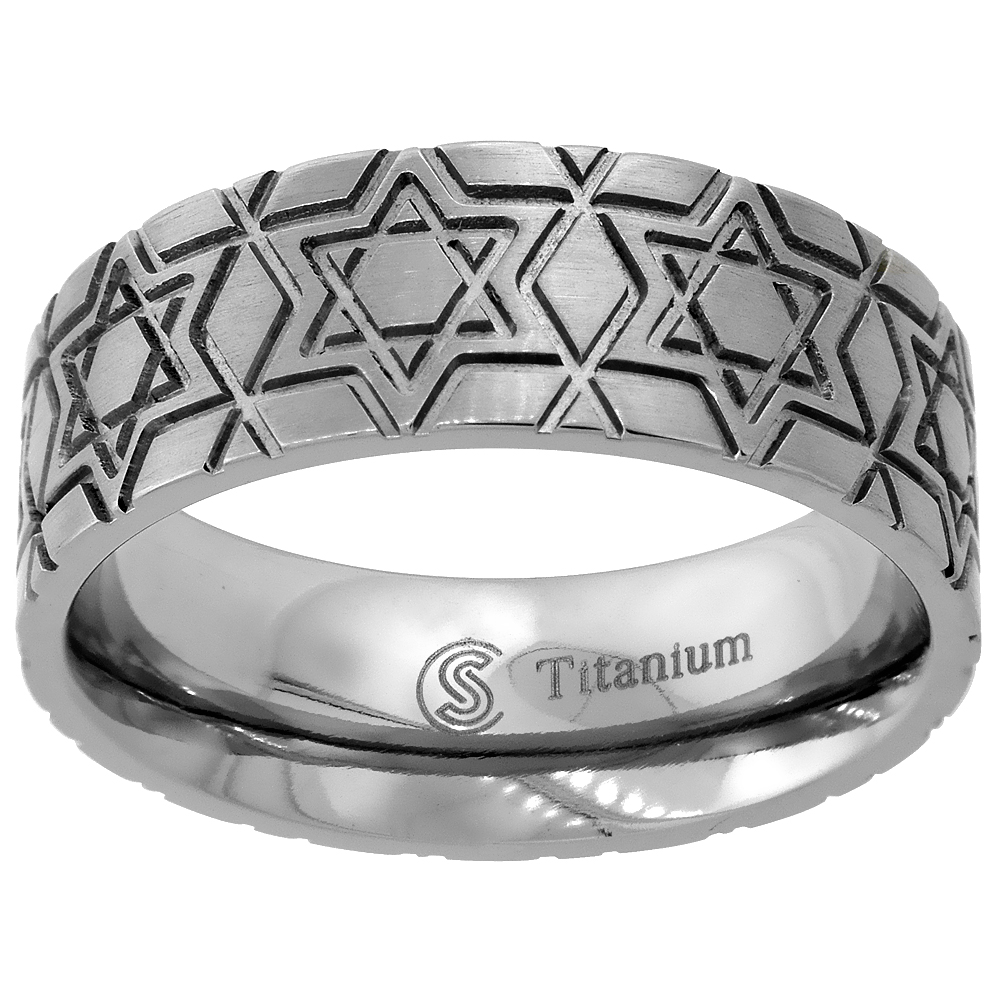 Titanium 8mm Wedding Band Star Of David Ring Deep Carving Flat Comfort Fit, sizes 6 - 14