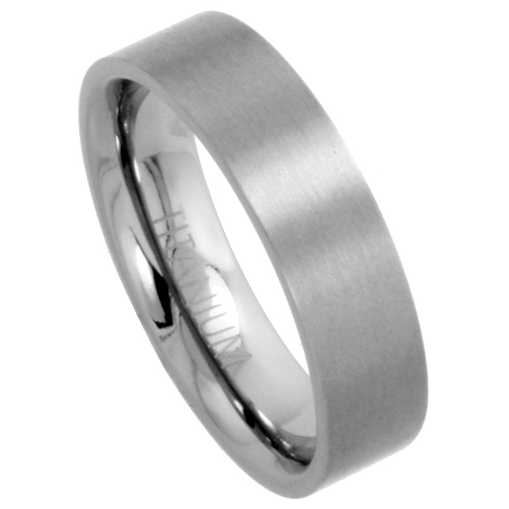 Sabrina Silver Titanium 6mm Flat Wedding Band Ring Matte finish Comfort-fit, sizes 5 to 12 at Sears.com