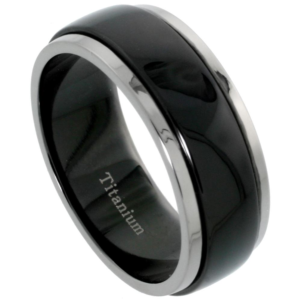 Black Titanium 8mm Wedding Band Spinner Ring Two Tone Finish, sizes 7 - 14.5