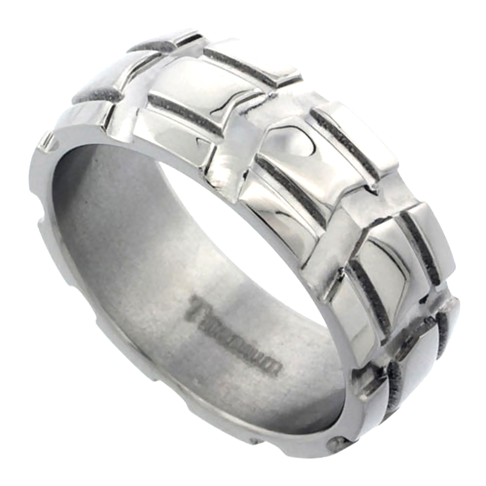 Sabrina Silver Titanium 8mm Dome Wedding Band Ring Carved Truck Tire Pattern Polished Finish Comfort-fit, size 10.5 at Sears.com