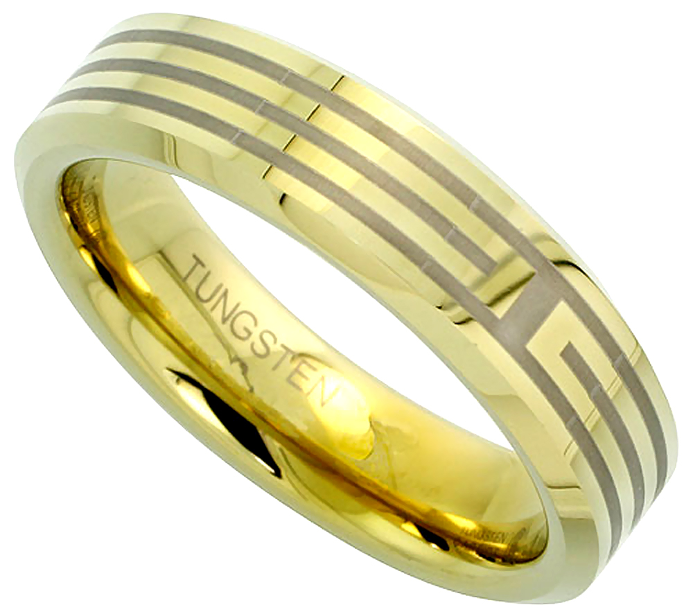 6mm Gold Tungsten Ring Flat Wedding Band 3 Etched Stripes Beveled Edge Comfort fit, sizes 5 to 14