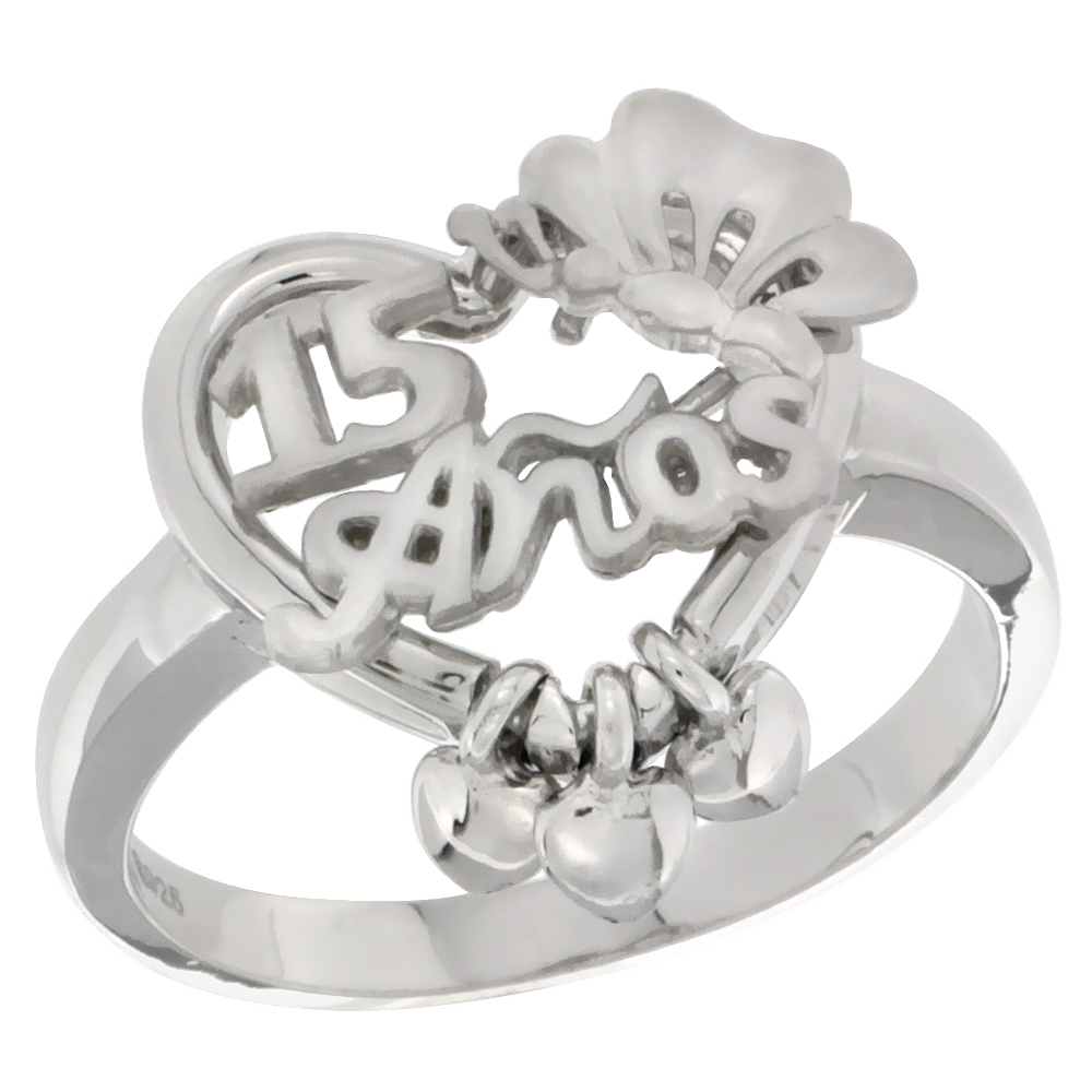 Sabrina Silver Sterling Silver Quinceanera 15 Anos Butterfly Triple Hearts Ring Rhodium Finished, size 5