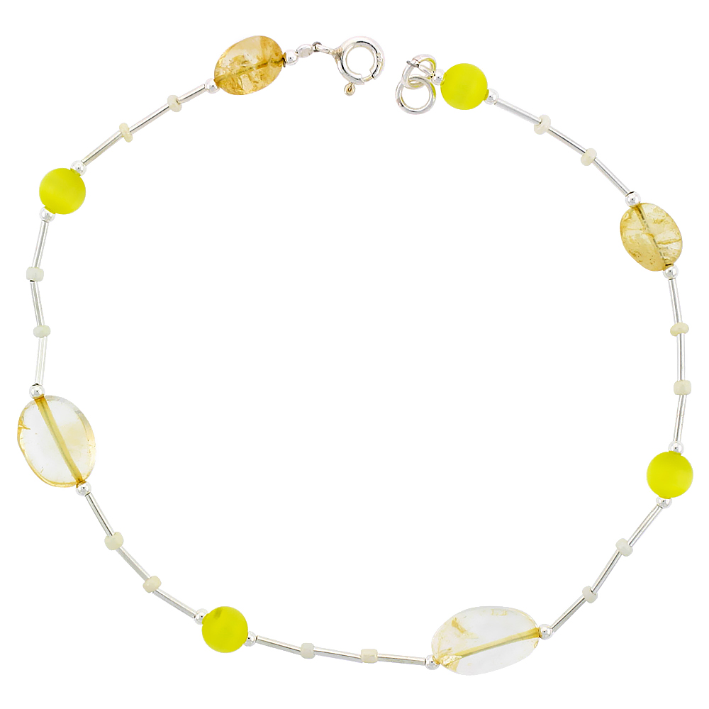 Sabrina Silver Sterling Silver Ankle Bracelet Anklet Natural Citrine Nuggets Lemon Cateye & Glass Seed Beads, adjustable 9 - 10 inch at Sears.com