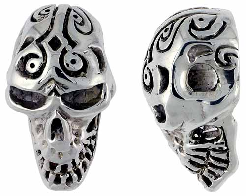 Sterling Silver Tattooed Skull Pendant, 1 1/4 inch tall, sizes 9-14
