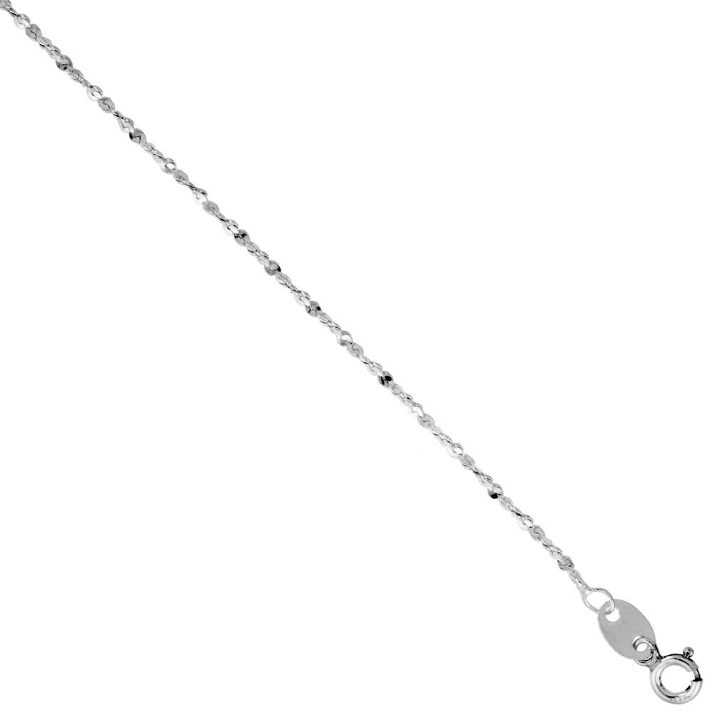 Sterling Silver Diamond Cut Twisted Serpentine Chain 1.5mm Nickel Free Italy, sizes 7 - 30 inch